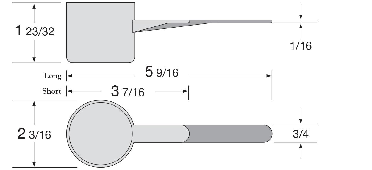 97cc Long & Short Handle Scoop Dimensions